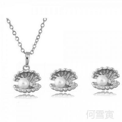 饰品批发新款爆款贝壳珍珠锆石耳环项链二件套-招财进宝1356-80