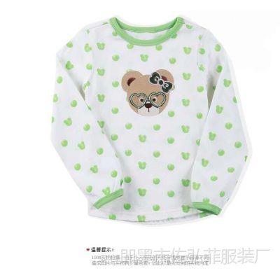 Q1外贸韩国小熊原单童装 春秋款女童纯棉眼睛小熊圆领长袖T恤1.25