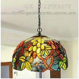 供应帝凡尼12寸葡萄彩玻灯 欧式田园艺术装饰灯具 咖啡厅餐吊灯