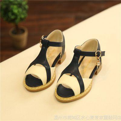 7810韩版夏季拼色女童凉鞋儿童公主鞋时尚可爱女批发一件代发