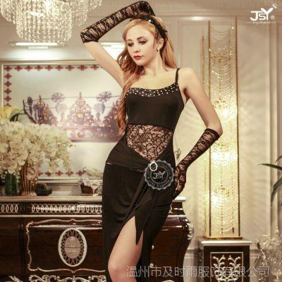 欧美性感情趣吊带长裙式睡衣诱惑 外贸胸口蕾丝镂空情趣内衣9973