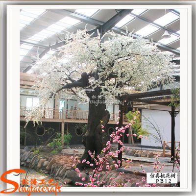室内仿真桃花树大型假树 仿真植物绿植玻璃钢桃花树造景