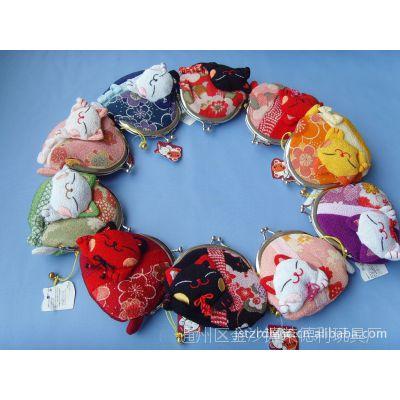 直销日本招喜屋和风招财猫礼品  布艺尾巴猫女式零钱包/婚庆红包