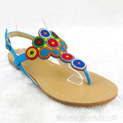 欧洲站糖果色彩凉鞋女新款2015夏季休闲女鞋夹趾平底女式凉鞋批发