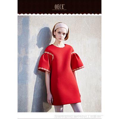 2015春装新款女装宫廷刺绣圆领修身红色连衣裙YXWM 151FS059批发