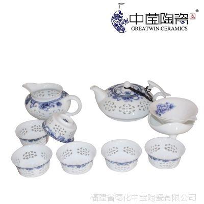德化茶具批发 水晶玲珑茶具套装 青花镂空功夫茶具套装特价可定制