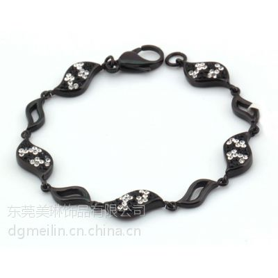 美琳不锈钢饰品厂家 欧美爆款黑石镶钻情侣手链 定制批发