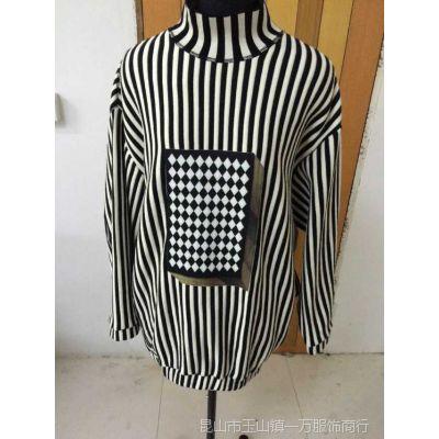地家2015新女春装欧美高领宽松条纹中长款连衣裙卫衣外套251F903
