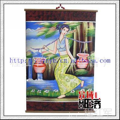 云南民族工艺礼品家居酒吧装饰品东巴工艺皮画挑水60-90 L0532-46
