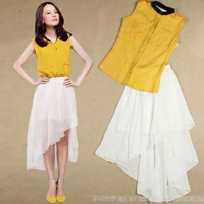2015春装新款高圆圆明星同款连衣裙韩版气质修身雪纺两件套装裙