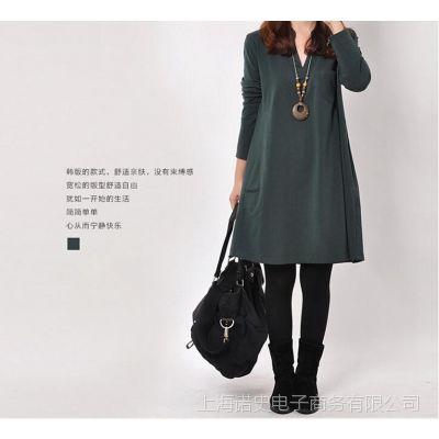 5802# 2015春装原创中长款A字连衣裙韩版女装显瘦大码裙子