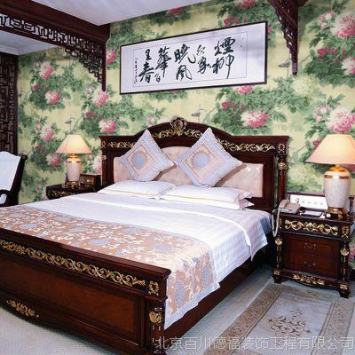靓家北京/ 富贵牡丹花鸟壁纸/古典中式风壁纸 电视卧室背景墙