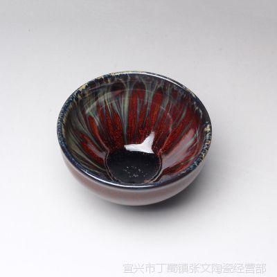 一公紫砂宜兴正品紫砂/喝茶小碗/紫砂挂釉小碗/红飞翠舞