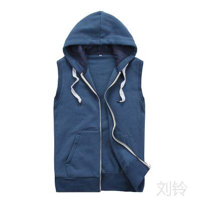厂家直销秋冬新款时尚修身女式马甲纯色休闲情侣卫衣坎肩一件代发