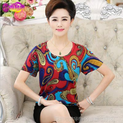 2015新款40-50岁大码妈妈装夏装中老年女装真丝短袖T恤女式上衣