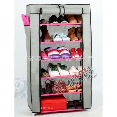 供应无纺布防尘鞋架带侧袋 简易组合鞋柜 铁架
