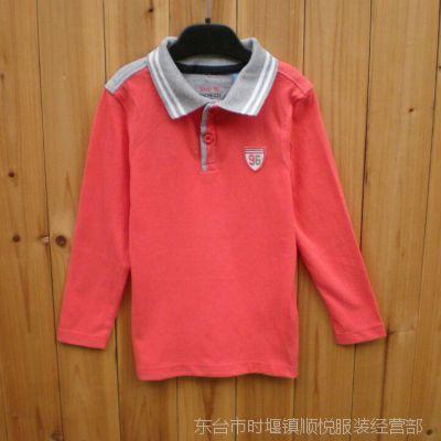 外贸原单童装新款 法国OKAI*I秋季男童时尚精品纯棉T恤 长袖 2色