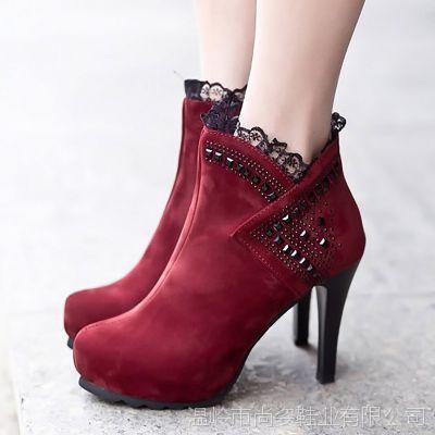 韩版性感细跟马丁靴 尖头防水台超高跟裸靴 水钻魔术贴女靴子批发