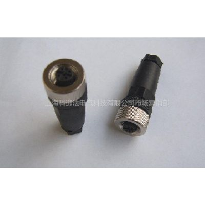 供应M12电缆连接器4孔 5孔 8孔直型不带电缆插头、防水电缆连接器
