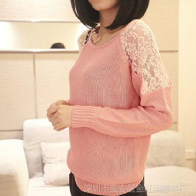 5620#2014新款春装韩版女装性感蕾丝镂空打底衫针织衫低领毛衣