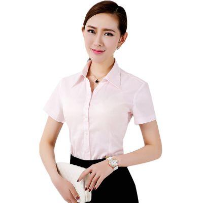 青岛女式工作服|即墨工作服生产|修身收腰V领衬衣短袖职业装工服