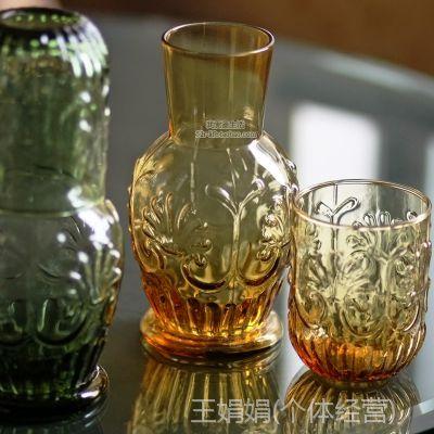 ZAKKA杂货 复古欧式刻花浮雕玻璃杯子 冷水壶果汁壶 一杯一壶套装