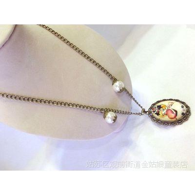 韩国韩版宝宝女童女孩儿童大复古珍珠夸张链毛衣链项链配饰胸针