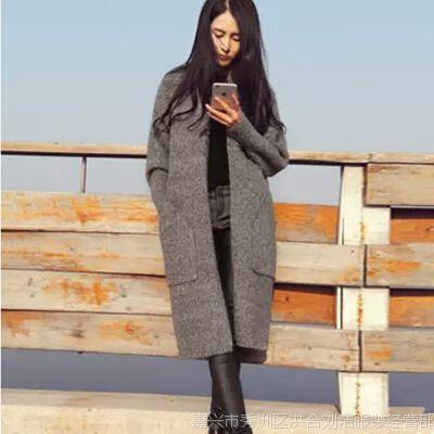 韩国东大门春秋新款女装宽松混色毛衣开衫加厚女长款针织开衫外套