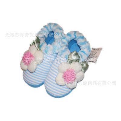 供应批发2012新款一朵花花朵彩条女式家居棉鞋 家居棉拖鞋
