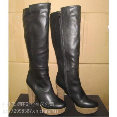 广州女皮鞋加工厂订做外贸高跟女靴