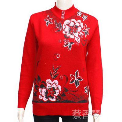 中年女士冬装 妈妈装 中老年女装中长款长袖低领韩版毛衣 你好啊