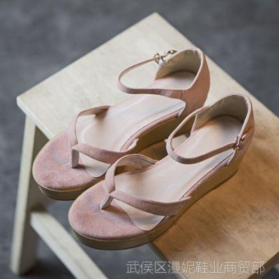 15夏季新款休闲舒适真皮夹趾高跟女凉鞋厚底松糕跟凉鞋女批发