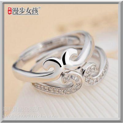 漫步女孩 925纯银 紧箍咒戒指 一件代发 情侣戒指开口