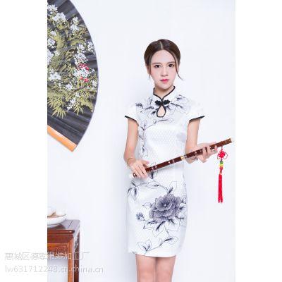 唐夫人惠州2016新款改良旗袍绸缎订货连衣裙时尚修身经典复古连衣裙唐夫人一件代发M/L两码