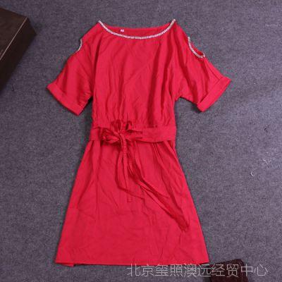 PNR818日系公主范女装夏季新款真丝漏肩手工镶钻款A字连衣裙爆款