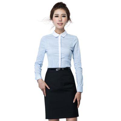 青岛女式工作服|潍坊职业装订制|韩范夏装翻领OL职业衬衣气质上衣