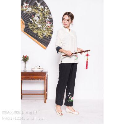 惠州唐夫人时尚套装上衣+长裤民族风立体绣花优质棉麻一件代发批发代棉麻衣服两码M/L白色