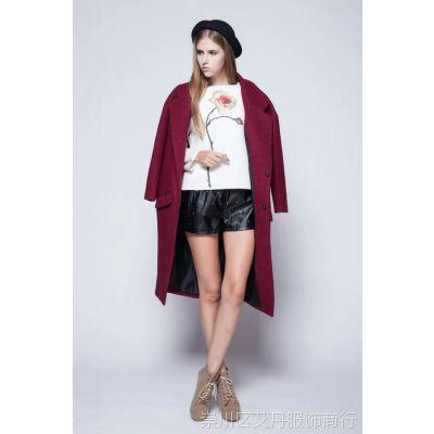 2014秋冬欧美风 卖宝 霸气长款纯色毛呢大衣新款女式风衣外套