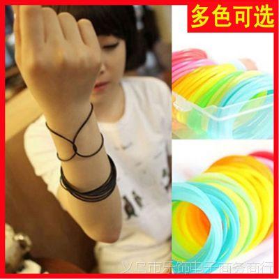 【超多颜色可选】糖果色彩色荧光夜光 硅胶手环手链手圈腕带
