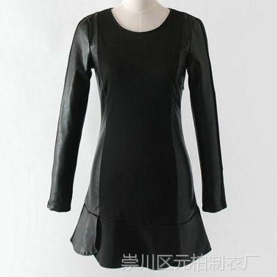 2014秋冬新款 欧美女装 高圆圆同款拼皮加绒修身长袖连衣裙 RMGS