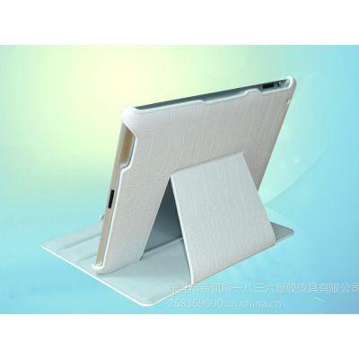 供应苹果 ipad3/4平板电脑保护套 四角 白色鳄鱼纹