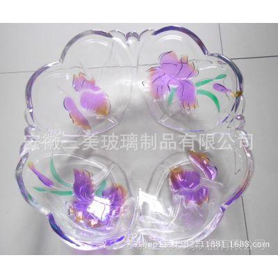 供应现货三美玻璃花卉超大号大果盘 可喷色果盘 爆款畅销
