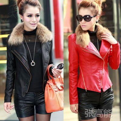 2015春秋季女装新款 女韩版修身短款皮衣立领皮夹克毛领女皮外套
