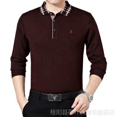 2015新款春装梦特娇长袖t恤 翻领polo衫大码 男式纯色休闲T恤爆款