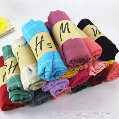 棉麻围巾秋冬季女士 韩版百搭大格子Hm卷装爆款围巾 冬天 女