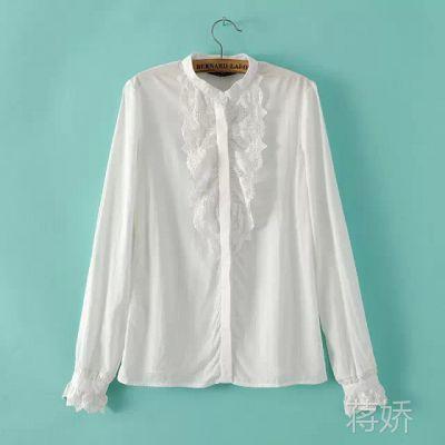 2015春装新款韩版百搭蕾丝花边拼接小立领长袖白色衬衫打底衫女