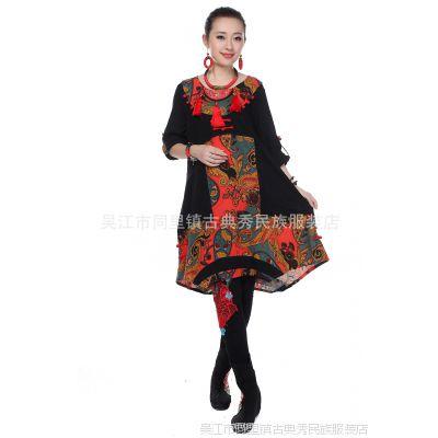 古韵古典秀民族风女士宽松大码 中式改良手工 盘扣绣花连衣裙