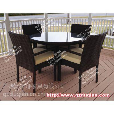 编藤餐厅成套桌椅,酒店休闲桌椅,步行街户外家具
