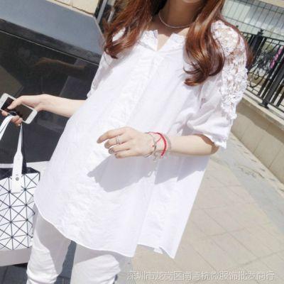 2015春夏新款白色衬衫女韩版大码女装宽松短袖衬衣中长款蕾丝衫女