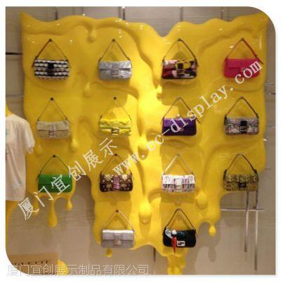 2015 品牌服装展示道具 玻璃钢墙壁 包包挂饰摆放摆件 玻璃钢材质